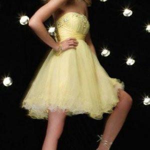 Strapless Appliqués Sequins Short Yellow Dress